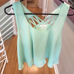 Turquoise flowy crop top